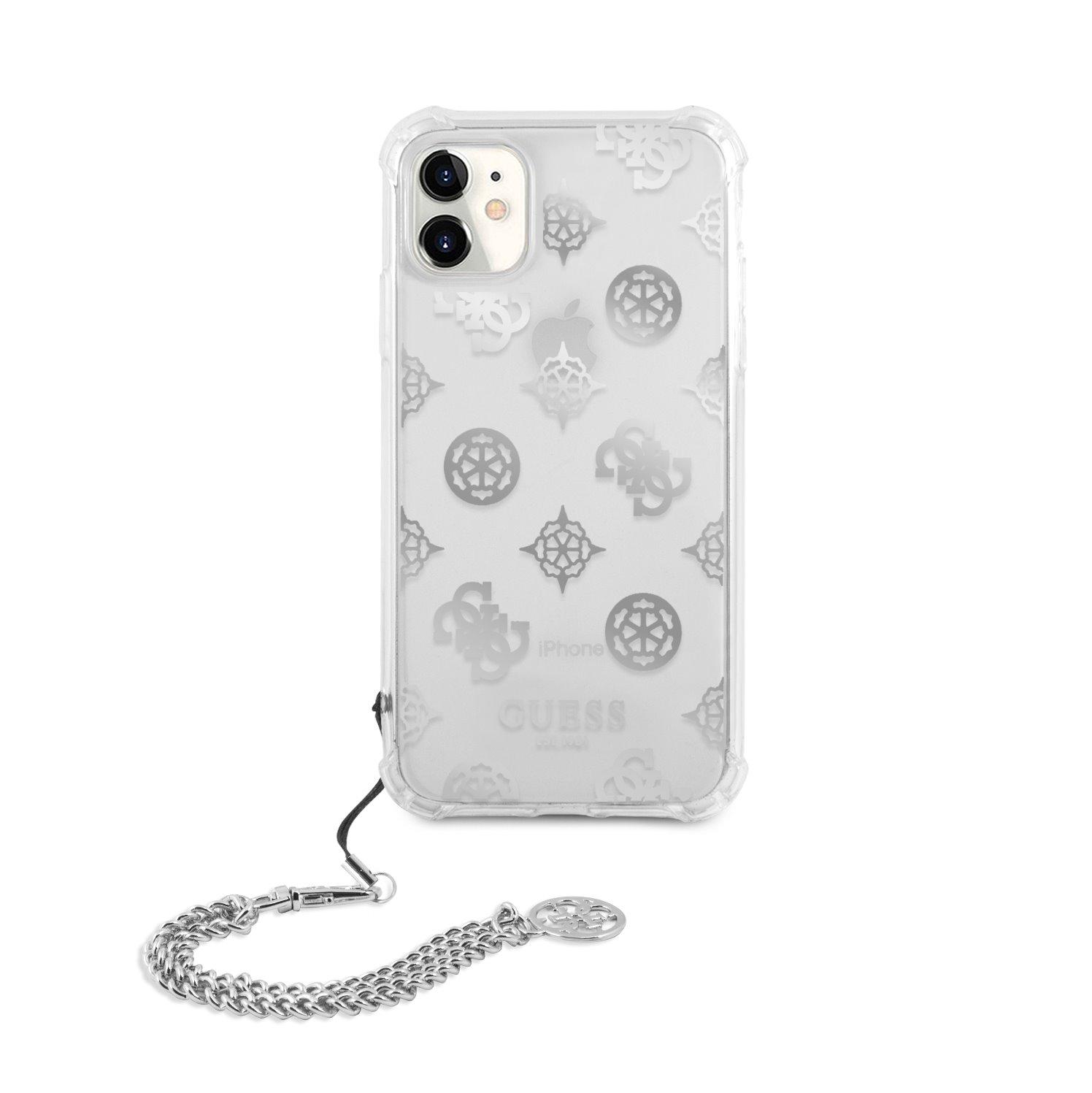 GUHCN61KSPESI Guess PC Chain Peony Zadní Kryt pro iPhone 11 Silver 3666339005733