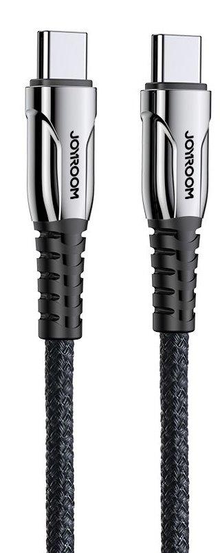 Joyroom S-1230K1 USB-C/USB-C Pletený Rychlonabíjecí Kabel 1.2m Black 6941237131508