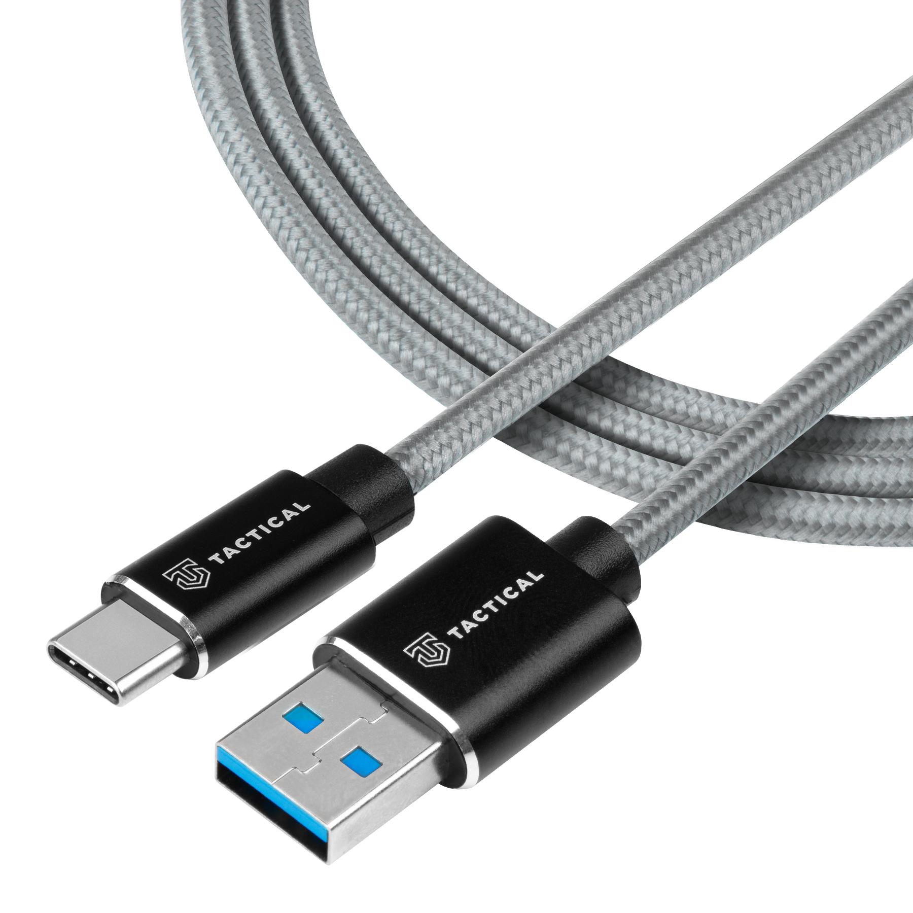Tactical Fast Rope Aramid Cable USB-A/USB-C 1m Grey 8596311153112