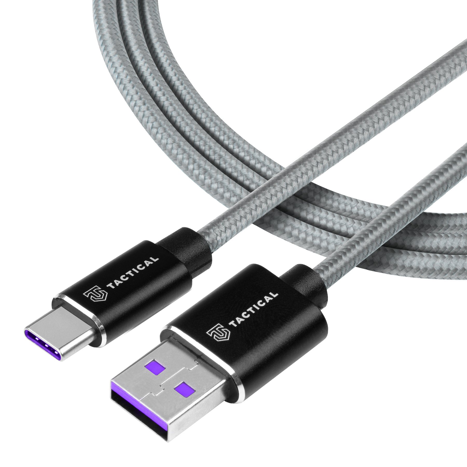 Tactical Fast Rope Aramid Cable USB-A/USB-C - HUAWEI SUPER CHARGE 1m Grey 8596311153228