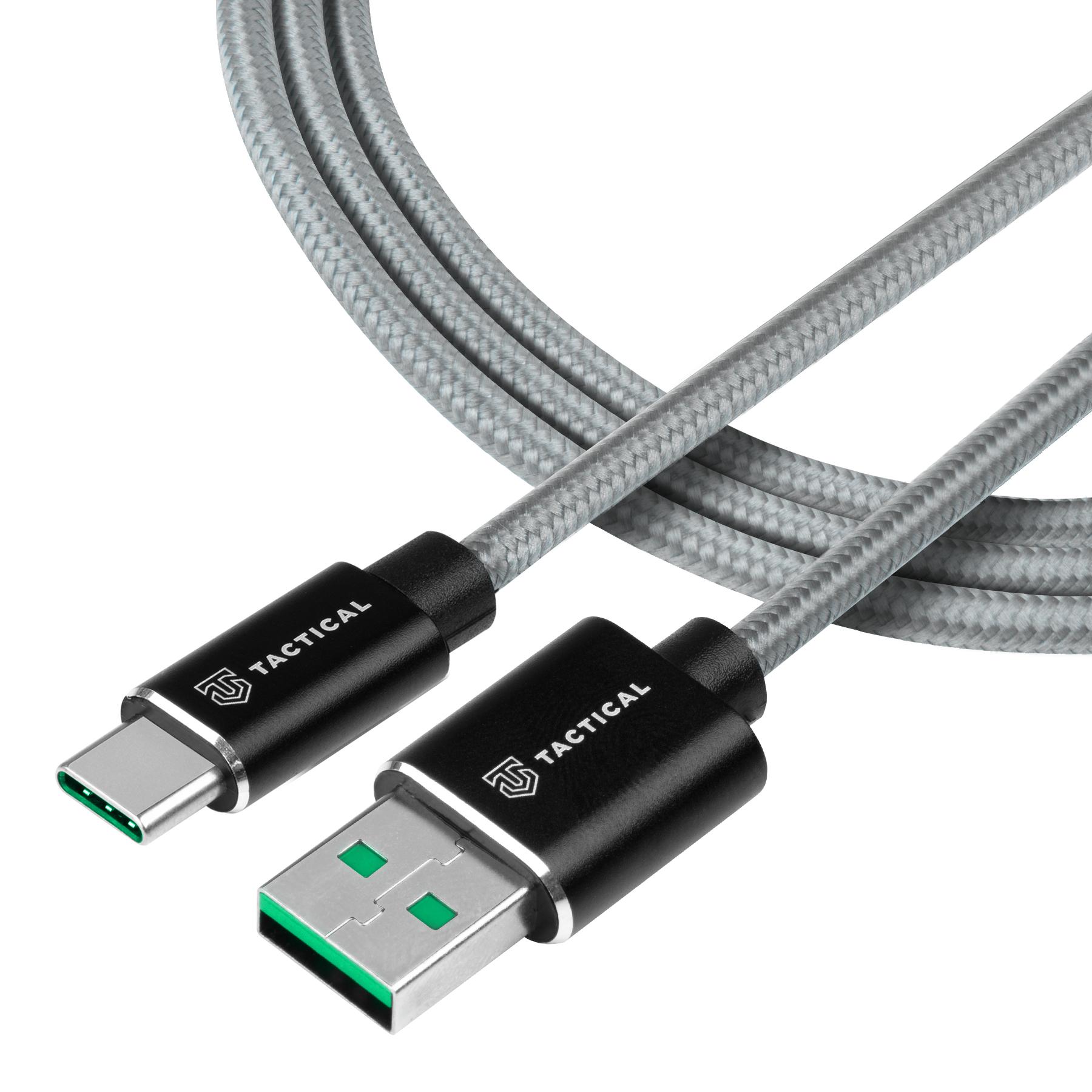 Tactical Fast Rope Aramid Cable USB-A/USB-C - SuperVOOC 2.0 CHARGE 1m Grey 8596311153235