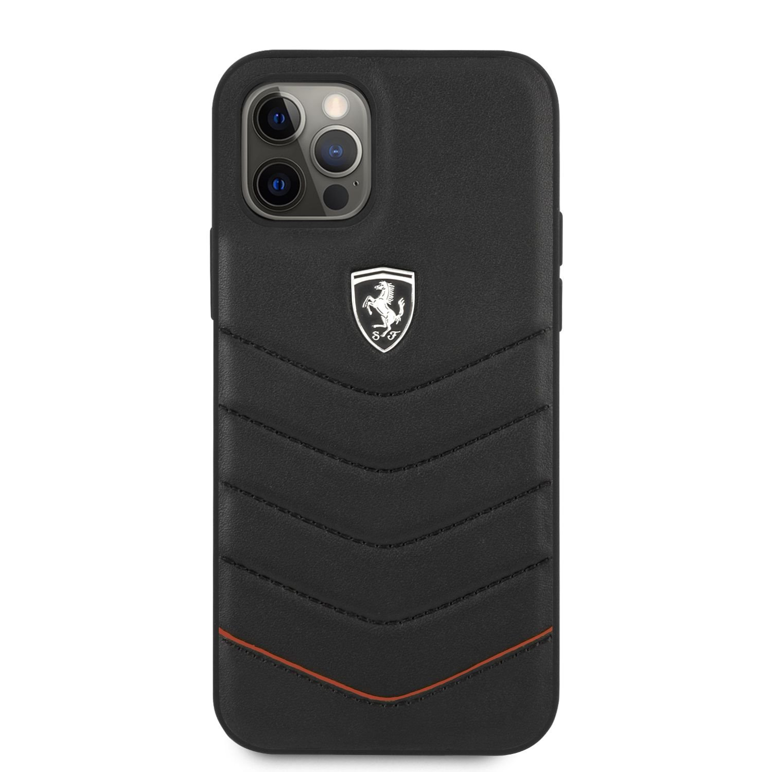 FEHQUHCP12MBK Ferrari Off Track Leather Quilted Zadní Kryt pro iPhone 12/12 Pro 6.1 Black 3700740479483