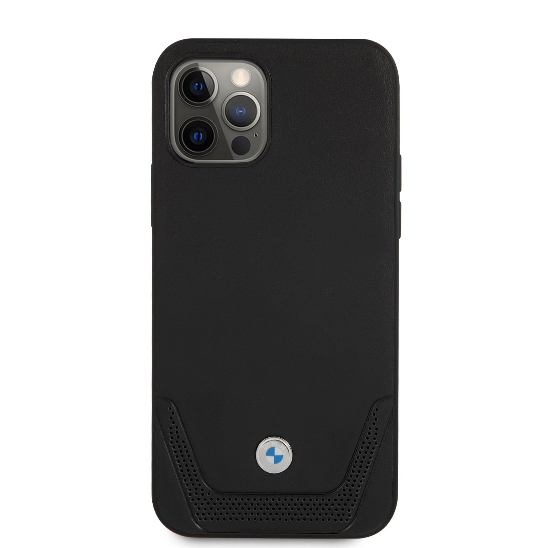 BMHCP12MRSWPK BMW Signature Leather Lower Stripe Kryt pro iPhone 12/12 Pro 6.1 Black 3666339010812