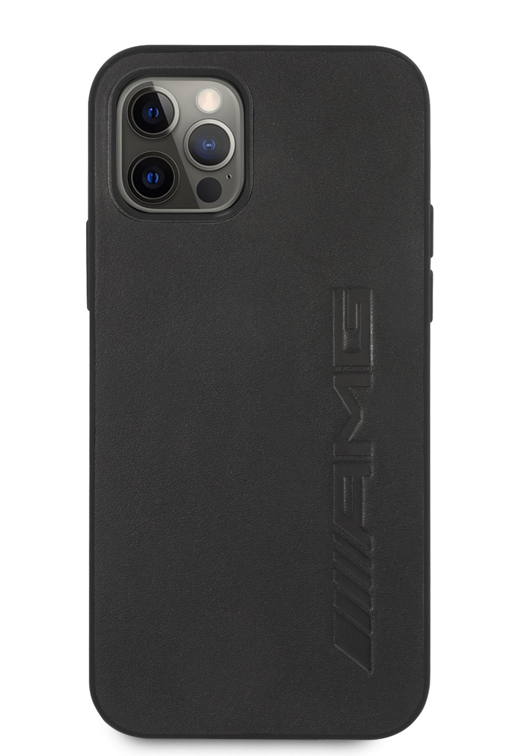 AMHCP12LDOLBK AMG Leather Big Stamped Logo Zadní Kryt pro iPhone 12 Pro Max 6.7 Black 3666339002855