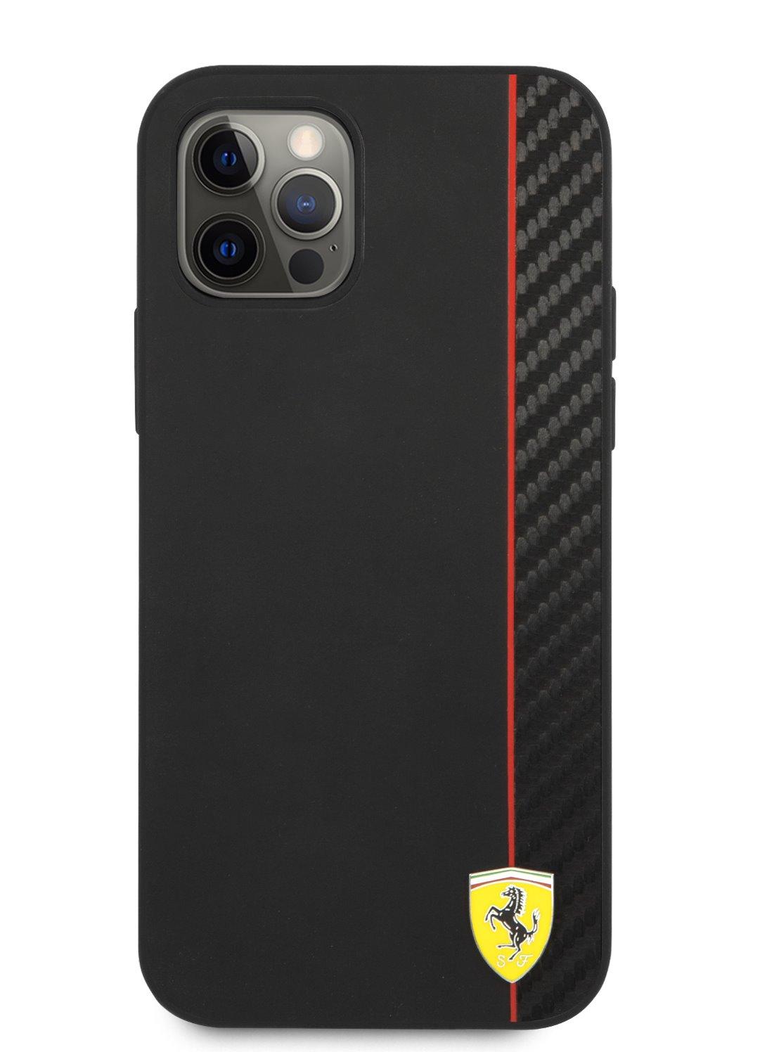 FESAXHCP12LBK Ferrari On Track Stripe Carbon Zadní Kryt pro iPhone 12 Pro Max 6.7 Black 3700740499443