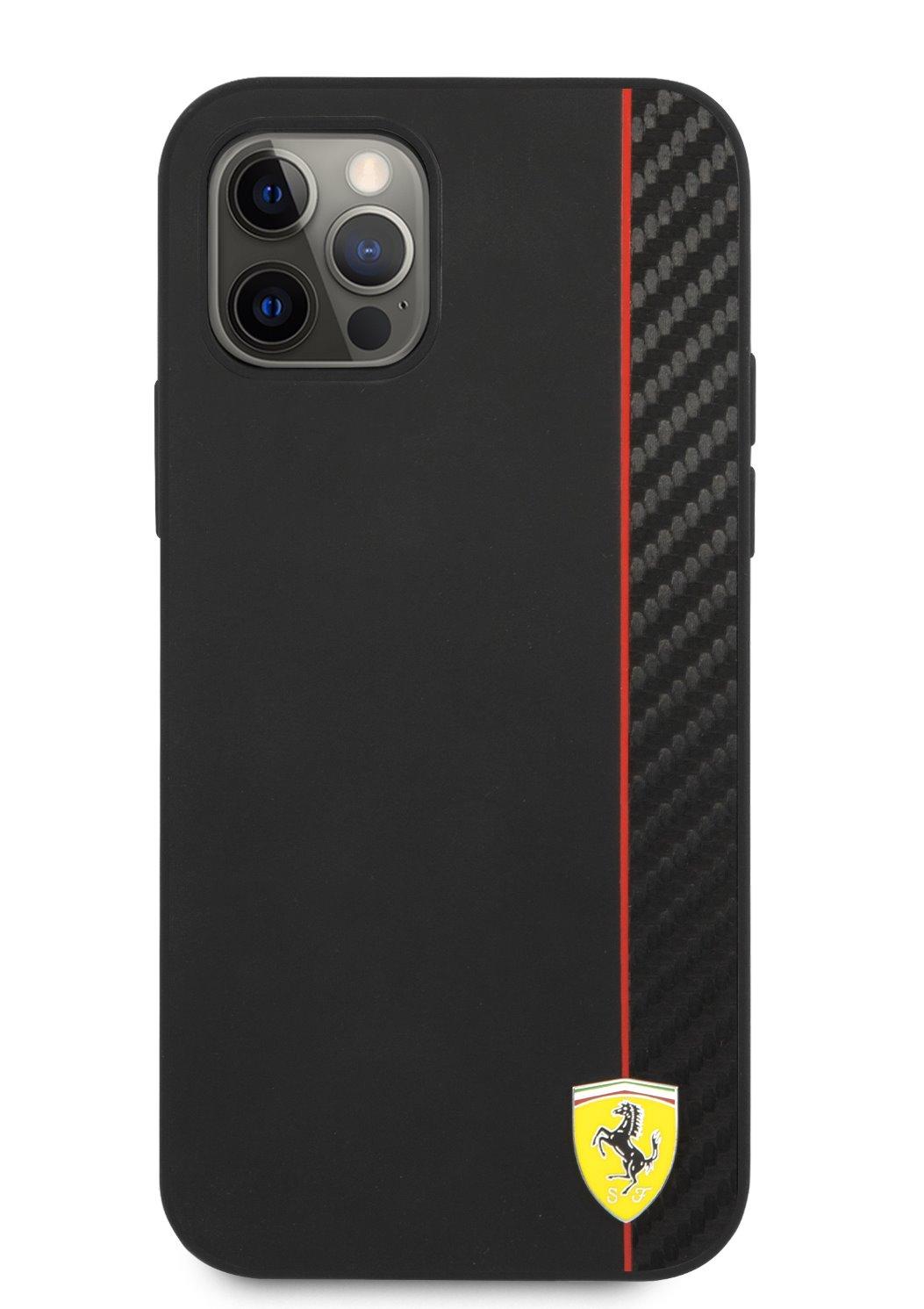 FESAXHCP12MBK Ferrari On Track Stripe Carbon Zadní Kryt pro iPhone 12/12 Pro 6.1 Black 3700740499436