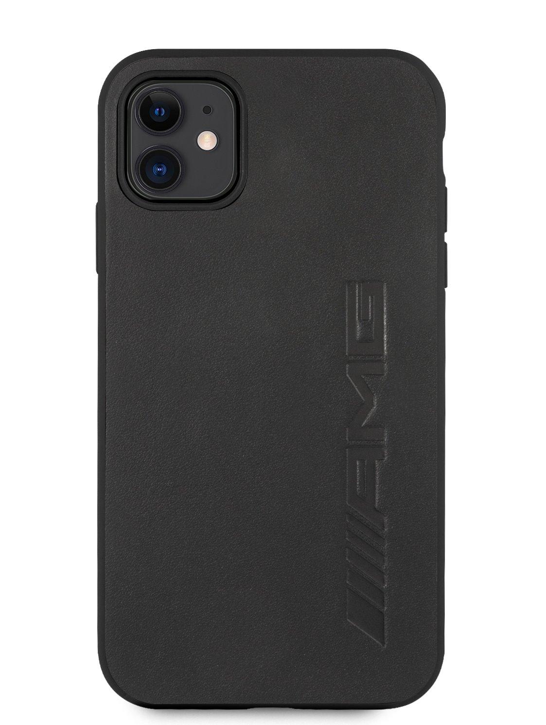 AMHCN61DOLBK AMG Leather Big Stamped Logo Zadní Kryt pro iPhone 11 Black 3666339016258