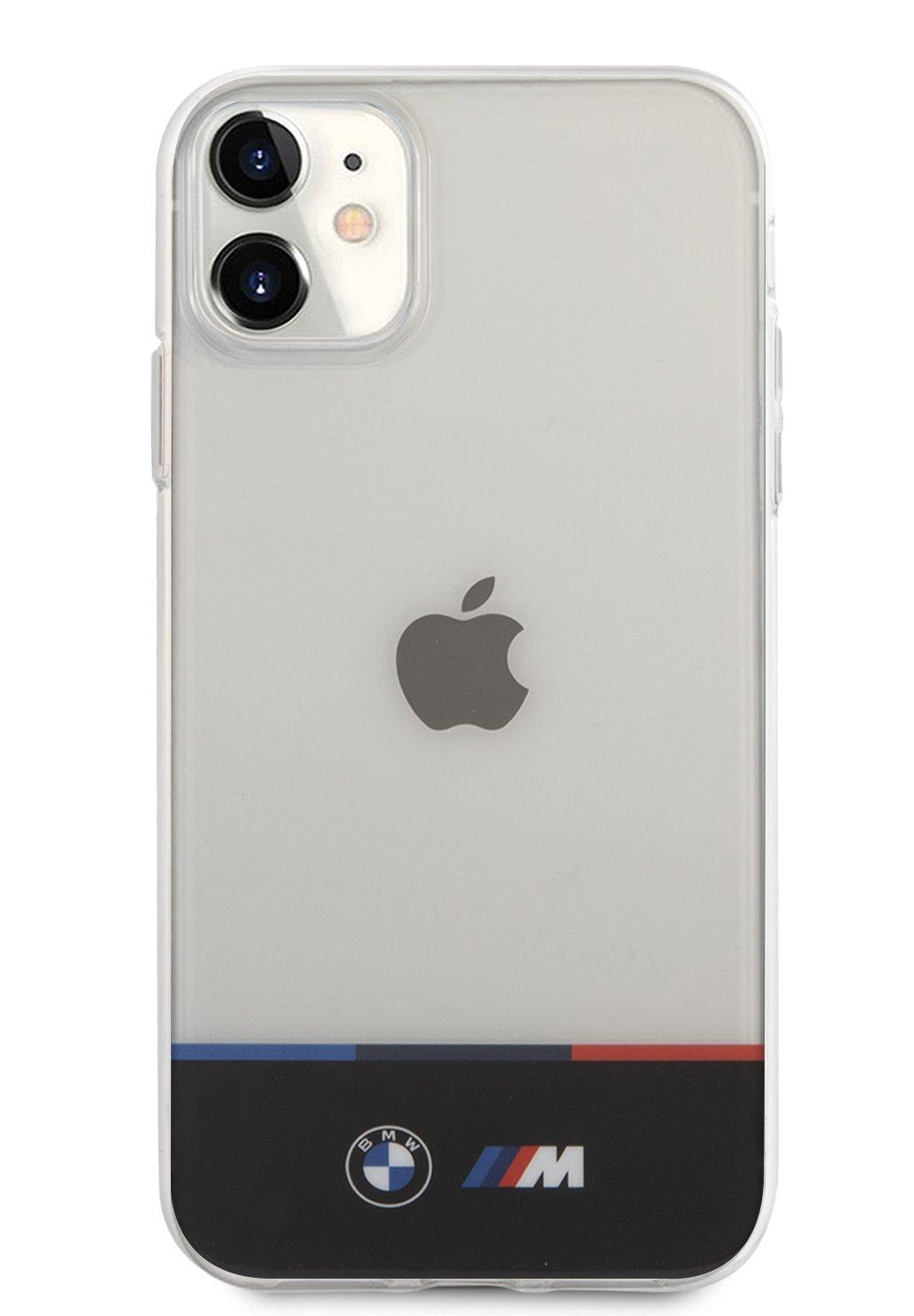 BMHCN61MHTHK BMW M PC/TPU Horizontal Tricolor Zadní Kryt pro iPhone 11 Transparent 3666339012434