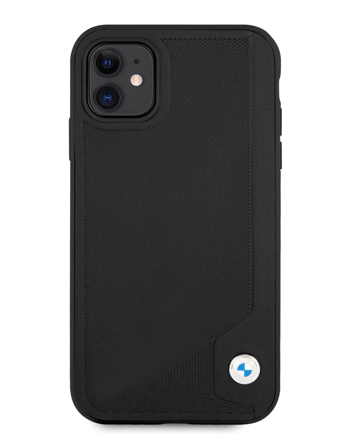 BMHCN61RCDPK BMW Signature Leather Debossed Stripes Kryt pro iPhone 11 Black 3666339011741