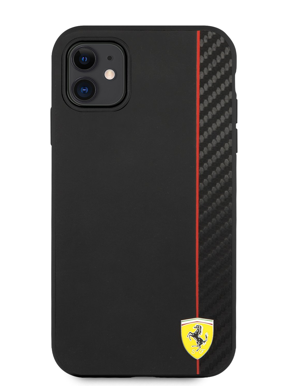 FESAXHCN61BK Ferrari On Track Stripe Carbon Zadní Kryt pro iPhone 11 Black 3666339015497