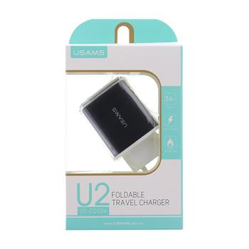 USAMS U2 USB Travel Charger Black (EU Blister)