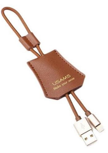USAMS SJ117 Leather Data Cable Lightning LD Brown (EU Blister)