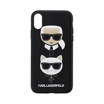 KLHCPXKICKC Karl Lagerfeld Karl and Choupette Hard Case Black pro iPhone X / XS