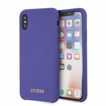 GUHCPXLSGLUV Guess Silicone Cover Gold Logo Purple pro iPhone X