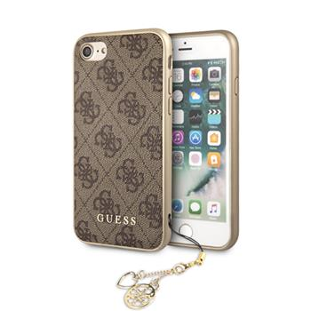 GUHCI8GF4GBR Guess Charms Hard Case 4G Brown pro iPhone 7/8