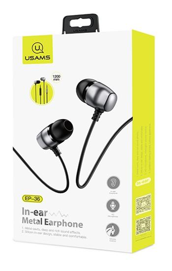USAMS EP-36 In-Ear Steel Stereo Headset 3,5mm Tarnish