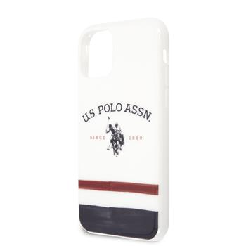 USHCN65PCSTRB U.S. Polo TPU Tricolor Blurred Kryt pro iPhone 11 Pro Max White