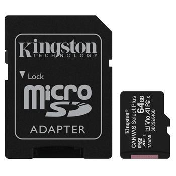 microSDXC 64GB Kingston Canvas Select + w/a