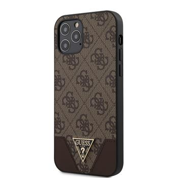 GUHCP12MPU4GHBR Guess 4G Triangle Zadní Kryt pro iPhone 12/12 Pro 6.1 Brown