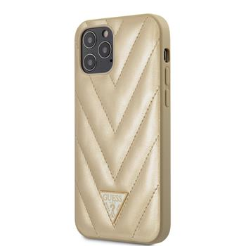 GUHCP12MPUVQTMLBE Guess V Quilted Zadní Kryt pro iPhone 12/12 Pro 6.1 Gold
