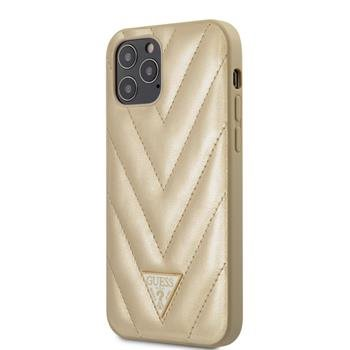 GUHCP12LPUVQTMLBE Guess V Quilted Zadní Kryt pro iPhone 12 Pro Max 6.7 Gold