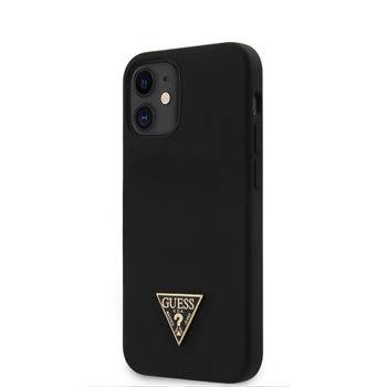 GUHCP12SLSTMBK Guess Silicone Metal Triangle Zadní Kryt pro iPhone 12 mini 5.4 Black