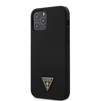 GUHCP12MLSTMBK Guess Silicone Metal Triangle Zadní Kryt pro iPhone 12/12 Pro 6.1 Black