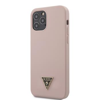 GUHCP12MLSTMLP Guess Silicone Metal Triangle Zadní Kryt pro iPhone 12/12 Pro 6.1 Light Pink
