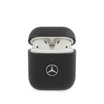 MEA2CSLBK Mercedes Kožené Pouzdro pro AirPods 1/2 Black