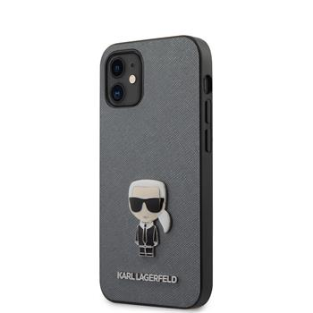 KLHCP12SIKMSSL Karl Lagerfeld Saffiano Iconic Kryt pro iPhone 12 mini 5.4 Silver