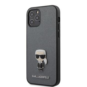 KLHCP12LIKMSSL Karl Lagerfeld Saffiano Iconic Kryt pro iPhone 12 Pro Max 6.7 Silver