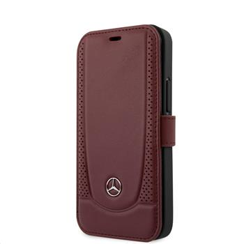 MEFLBKP12SARMRE Mercedes Perforated Leather Book Pouzdro pro iPhone 12 Red
