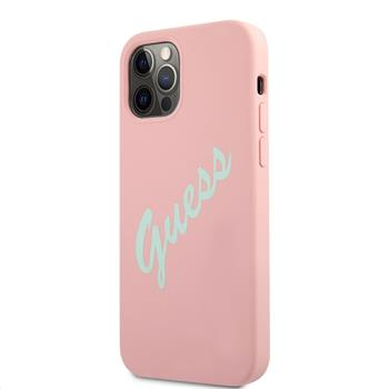 GUHCP12MLSVSPG Guess Silicone Vintage Green Script Zadní Kryt pro iPhone 12/12 Pro 6.1 Pink