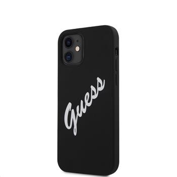 GUHCP12SLSVSBW Guess Silicone Vintage Script Zadní Kryt pro iPhone 12 mini 5.4 Black