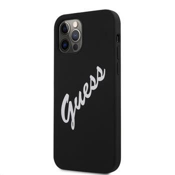GUHCP12MLSVSBW Guess Silicone Vintage White Script Zadní Kryt pro iPhone 12/12 Pro 6.1 Black