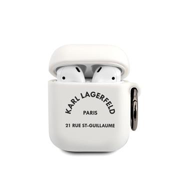 KLACA2SILRSGWH Karl Lagerfeld Rue St Guillaume Silikonové Pouzdro pro Airpods 1/2 White