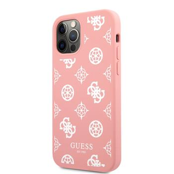 GUHCP12MLSPEWPI Guess Liquid Silicone White Peony Zadní Kryt pro iPhone 12/12 Pro Pink