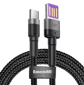 Baseus CATKLF-PG1 Cafule Quick Charging Datový Kabel USB Double Sided to USB 40W 1m Gray/Black