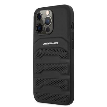 AMHCP13LGSEBK AMG Genuine Leather Perforated Zadní Kryt pro iPhone 13 Pro Black