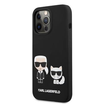 KLHCP13XSSKCK Karl Lagerfeld and Choupette Liquid Silicone Zadní Kry pro iPhone 13 Pro Max Black