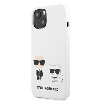 KLHCP13SSSKCW Karl Lagerfeld and Choupette Liquid Silicone Zadní Kry pro iPhone 13 mini White
