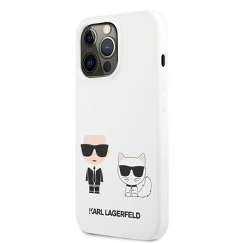 KLHCP13LSSKCW Karl Lagerfeld and Choupette Liquid Silicone Zadní Kry pro iPhone 13 Pro White