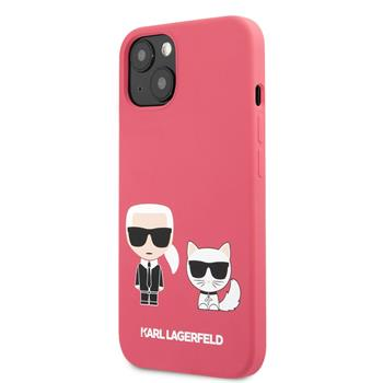 KLHCP13SSSKCP Karl Lagerfeld and Choupette Liquid Silicone Zadní Kry pro iPhone 13 mini Red