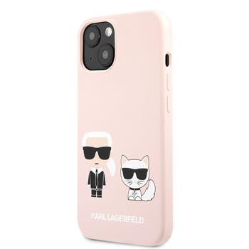 KLHCP13SSSKCI Karl Lagerfeld and Choupette Liquid Silicone Zadní Kry pro iPhone 13 mini Pink