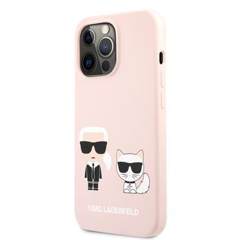 KLHCP13XSSKCI Karl Lagerfeld and Choupette Liquid Silicone Zadní Kry pro iPhone 13 Pro Max Pink